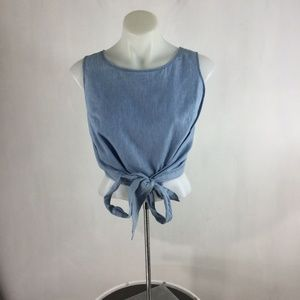 Moon River Top Blue Sleeveless Tie Front Cropped